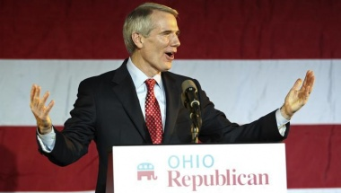 Sen. Rob Portman (R-OH) speaks to the crowd at Ohio Republican Sen. candidate Josh Mandel's election night rally in Columbus, Ohio, November 6, 2012. REUTERS/Aaron Josefczyk