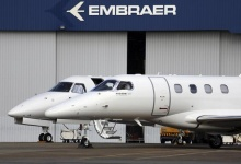 Private jets are seen at the Embraer headquarters in Sao Jose dos Campos, 62 miles from Sao Paulo May 14, 2013. REUTERS/Nacho Doce