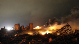The remains of a fertilizer plant burn after an explosion at the plant in the town of West, near Waco, Texas, in this April 18, 2013 file photo. REUTERS/Mike Stone/Files  