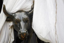 A bronze replica of a bull is seen at the gates of the Bombay Stock Exchange (BSE) building in Mumbai February 26, 2010. REUTERS/Arko Datta/Files