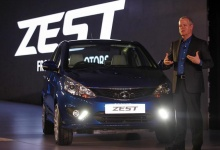Tim Leverton, Tata Motors' head of research and development, gestures after unveiling Sedan Zest car in New Delhi February 3, 2014. REUTERS/Anindito Mukherjee