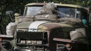 A Ukrainian military vehicle is seen near Kramatorsk September 2, 2014. REUTERS/Gleb Garanich