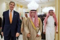 U.S. Secretary of State John Kerry walks with Saudi Foreign Minister Adel al-Jubeir (C) to attend a Gulf Cooperation Council meeting at King Salman Regional Air Base in Riyadh, Saudi Arabia, January 23, 2016. REUTERS/Jacquelyn Martin