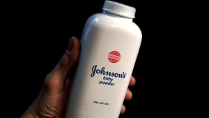 A bottle of Johnson and Johnson Baby Powder is seen in a photo illustration taken in New York, February 24, 2016. Reuters/Mike Segar/Illustration/Files