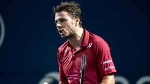 Jul 26, 2016; Toronto, Ontario, Canada;  Stan Wawrinka of Switzerland reacts after winning the first set against Mikhail Youzhny of Russia  on day two of the Rogers Cup tennis tournament at Aviva Centre. Mandatory Credit: Dan Hamilton-USA TODAY Sports