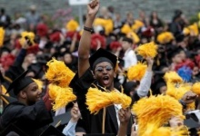 Graduating students of the City College of New York cheer during the College's commencement ceremony in the Harlem section of Manhattan, New York, U.S., June 3, 2016. REUTERS/Mike Segar