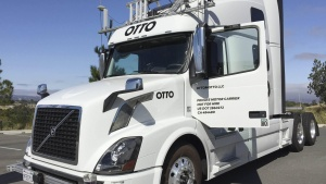 An Autonomous trucking start-up Otto vehicle is shown during an announcing event in Concord, California, U.S. August 4, 2016.   REUTERS/Alexandria Sage/File Photo
