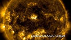 Solar flare surges off sun