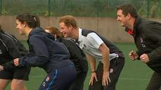 Prince Harry is a rugby trainer for the day