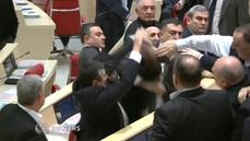 Dispute in Georgia's parliament turns into a brawl