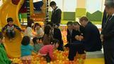 Prince William juggles balls and plants tree at Fukushima play school