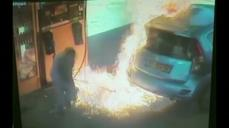 Video shows woman setting gas pump on fire