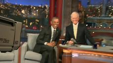 "Obama tapes the ""Late Show with David Letterman"""
