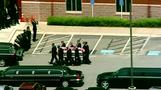 Bobbi Kristina Brown's casket carried out of funeral