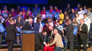 Woman faints at Sanders rally