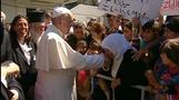 Pope meets migrants in Greece