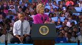クリントン陣営はFBI結果に「満足」、米大統領と遊説開始(字幕・6日)