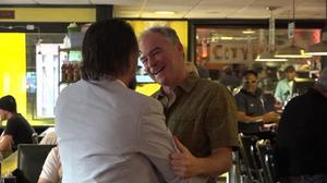 Kaine meets friends at VA diner