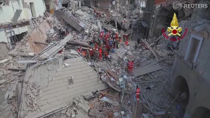 Drone footage shows Italy quake damage