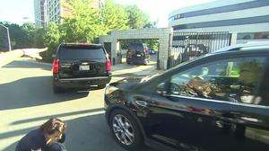 Clinton arrives for intelligence briefing