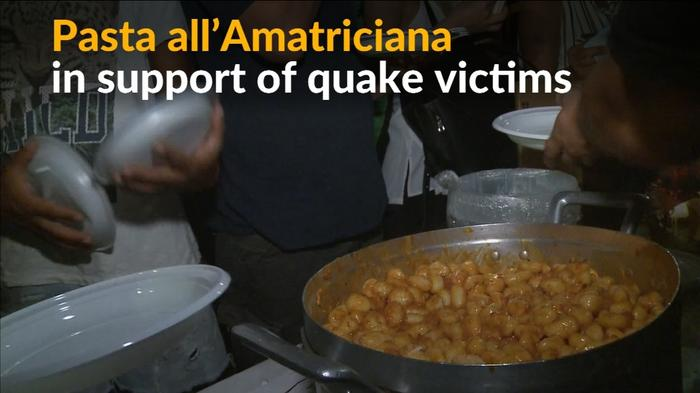 Pasta all'Amatriciana served with 'lots of love' for Italy's quake victims