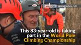 Elderly pole climber delights in English competition