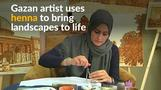 Gazan painter makes art with henna