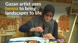 Gazan painter makes art with henna