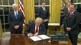 Trump signs first executive order on Obamacare: Mattis, Kelly sworn in