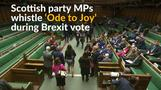 Scottish lawmakers sing EU anthem during Brexit vote