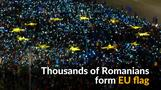 Thousands of Romanian protesters form EU flag