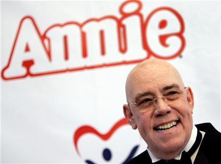 Cast member Conrad John Schuck, who plays Daddy Warbucks, attends the opening night of the classic musical ''Annie'' at the Pantages theatre in Hollywood October 4, 2005. Warbucks has won the top slot on Forbes magazines' list of the 15 richest fictional characters. REUTERS/Mario Anzuoni