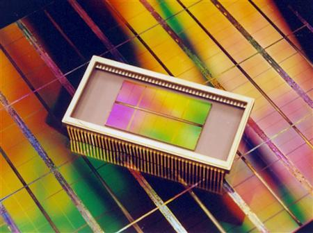 A memory chip in a file photo. Makers of memory chips are looking ahead to a day, not too far off, when technology based on silicon bumps up against the laws of physics and memory can't be made any smaller, with implications for gadgets like MP3 players and digital cameras. REUTERS/File