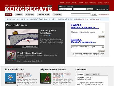 Screengrab of www.kongregate.com is seen March 22, 2007. When video game maker Jim Greer approached Silicon Valley investors to give him nearly $1 million for his start-up. he had an irresistible pitch: ''It's video games meets YouTube.'' REUTERS/ Screengrab/www.kongregate.com