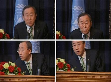 A combination of video grabs shows U.N. Secretary-General Ban Ki-moon reacting to an explosion during a news conference in Baghdad, March 22, 2007. REUTERS/Al-Hurra via Reuters Television