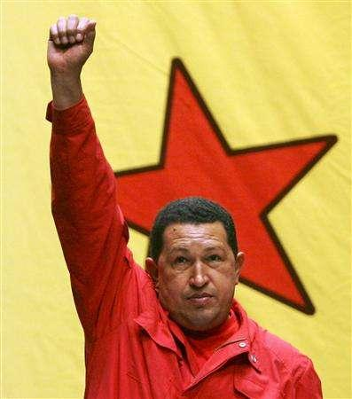 Venezuelan President Hugo Chavez attends an event with supporters to promote the new United Venezuelan Socialsit Party (PSUV) in Caracas, March 24, 2007. REUTERS/Miraflores Palace/Handout