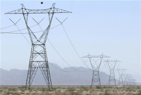High voltage power lines in the California desert in a file photo. The move to turn the clocks forward by an hour on March 11 rather than the usual April date was mandated by the government as an energy-saving effort. REUTERS/Fred Greaves