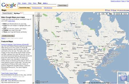 A screenshot of maps.google.com, taken on April 5, 2007. Google Inc. is out to make map-making simpler, giving away tools for ordinary users to pinpoint locations, draw routes and attach photos or video to existing online maps, the company said on Wednesday. REUTERS/maps.google.com