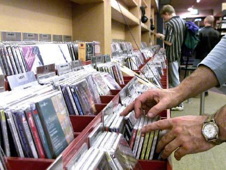An undated file photo of cd racks. While it is no shock that CD sales plummeted in the first quarter, what may be more surprising is who and what are leading that decline. REUTERS/Handout