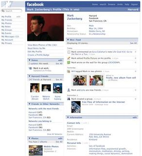 A Facebook profile screen shot is seen in an undated publicity image. Facebook, which has enjoyed explosive growth relative to rival social networking sites since a membership crisis six months ago, is set to unveil new features on Wednesday that mark its progress from a dating site for college kids into a mainstream network tool. REUTERS/Handout