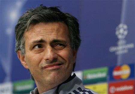Chelsea's coach Jose Mourinho reacts as he attends a news conference at Stamford Bridge in London on April 3, 2007. Two newspapers related on Tuesday how Mourinho once allegedly hid in a laundry basket used for transporting the club's kit to get round a UEFA ban covering a big game. REUTERS/Alessia Pierdomenico