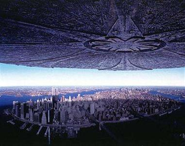 Aliens descend on Manhattan in a scene from the 1996 film ''Independence Day'' in an image courtesy of 20th Century Fox. If there are so many aliens out there, why haven't we heard from them already? That is the question famously posed by the physicist Enrico Fermi in 1950 to dismiss speculation by his colleagues that intelligent life should be routine. REUTERS/Handout