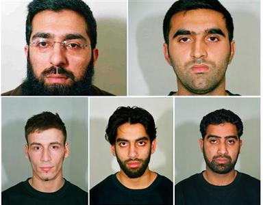 A conbination image of undated handout photographs made available by the Metropolitan Police in London on April 30, 2007 shows (top L-R) Salahuddin Amin, Omar Khyam, (bottom L-R) Anthony Garcia, Jawad Akbar and Waheed Mahmood. REUTERS/Metropolitan Police/Handout