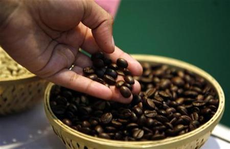 A visitor checks coffee beans at the 'International Coffee Festival 2007' in the southern Indian city of Bangalore February 24, 2007. Drinking coffee can help ward off type 2 diabetes and may even help prevent certain cancers, according to panelists discussing the benefits -- and risks -- of the beverage at a scientific meeting. REUTERS/Jagadeesh Nv