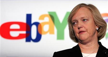 Online auction company EBay Inc.'s Chief Executive Meg Whitman looks on during a news conference in Brussels, in this February 7, 2006 file photo. Web auction leader eBay is in talks to buy Web surfing review site StumbleUpon in a deal worth roughly $75 million, a source familiar with the talks said on Tuesday. REUTERS/Francois Lenoir