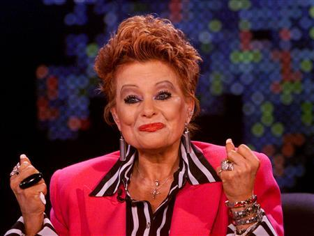 Tammy Faye Bakker gestures during an interview with talk show host Larry King at the CNN studios in Los Angeles, in this March 18, 2004 file photo. Bakker, the disgraced televangelist whose reputation was rehabilitated through a documentary and reality show, has penned a goodbye letter to her fans in which she says doctors have stopped treating her cancer. REUTERS/Handout/Rose M. Prouser/CNN