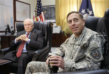 Vice President Dick Cheney (L) meets General David Petraeus, commander of the U.S. forces in Iraq, at the U.S. embassy in Baghdad May 9, 2007. Cheney said on Friday the heightened U.S. military presence in the Gulf demonstrated Washington's resolve in a standoff with Iran over Tehran's nuclear plans. REUTERS/Gerald Herbert/Pool