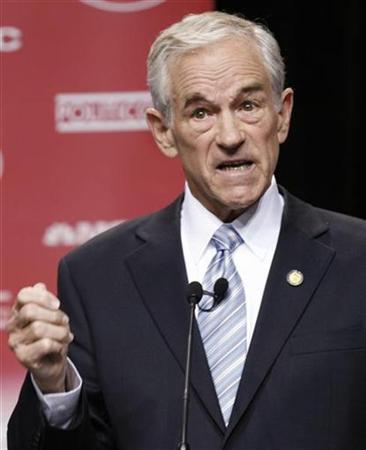 Representative Ron Paul (R-TX) speaks during the GOP presidential candidates debate at the Ronald Reagan Presidential Library in Simi Valley, California May 3, 2007. Paul on Thursday gave front-runner Rudy Giuliani a list of foreign-policy books to back up his contention that attacks by Islamic militants are fueled by the U.S. presence in the Middle East. REUTERS/Lucy Nicholson