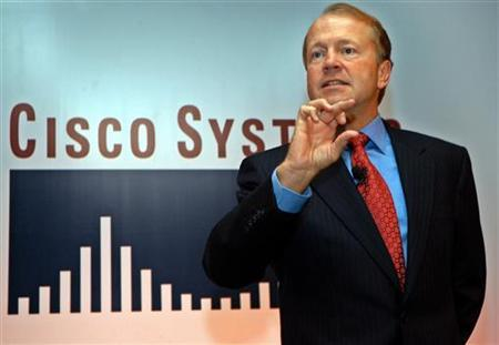In this file photo Cisco systems CEO John Chambers speaks during a news conference in the southern Indian city of Bangalore October 21, 2005. Chambers, speaking at the NXTcomm communications conference in Chicago, said demand for bandwidth would likely grow 300 percent to 500 percent each year in the next several years, a trend that will likely lift Cisco's sales. REUTERS/Jagadeesh Nv