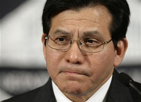 Attorney General Alberto Gonzales at the Department of Justice in Washington, June 5, 2007. Gonzales won American newspaper columnists' annual ''Sitting Duck Award'' for being an easy target. REUTERS/Yuri Gripas